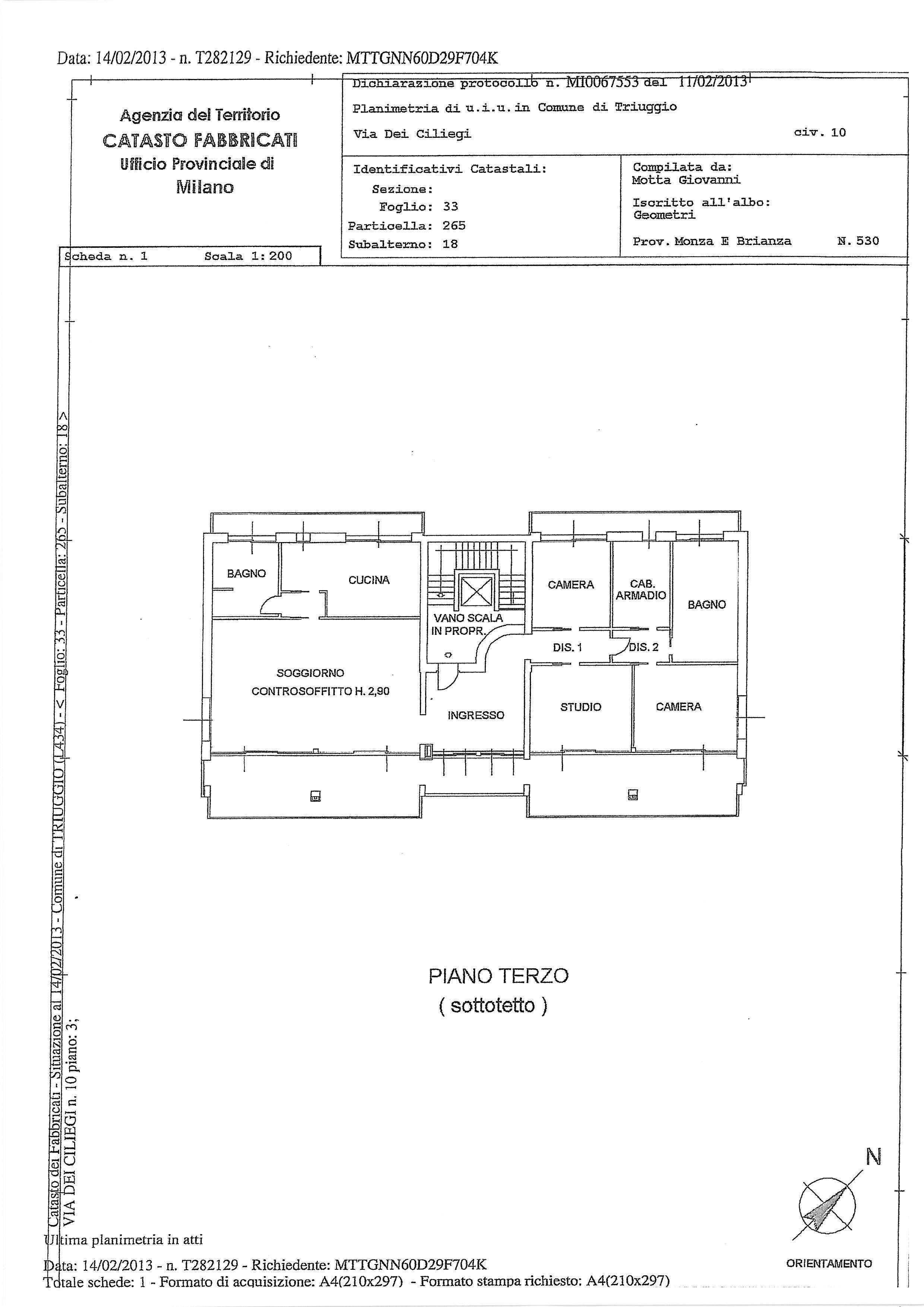 001 attico in vendita a triuggio mb ville casali for Planimetrie vista montagna